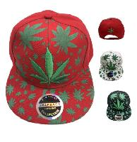 Snap Back Flat Bill [Embroidered/Printed Marijuana] Hat